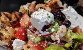 Greek Salad with Chicken at Balkan Restaurant in Banff