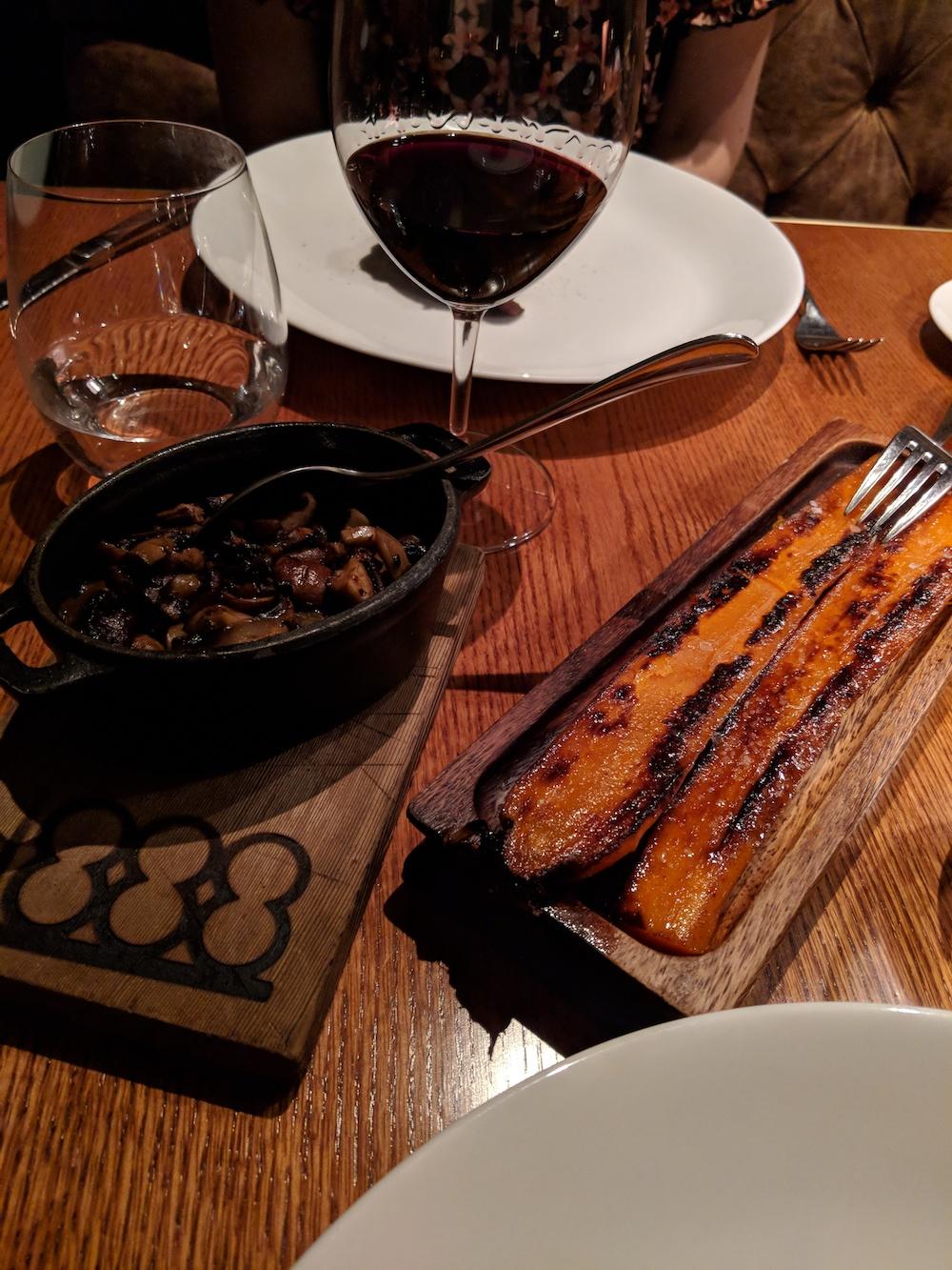 Braised carrots, mushroom medley