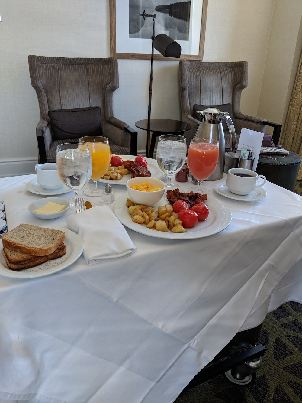 """Rocky Mountain Breakfast"" in our room"