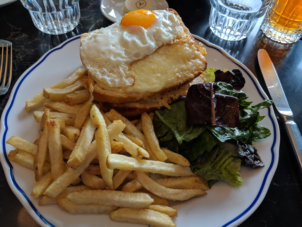 Croque Monsieur Topped with Egg