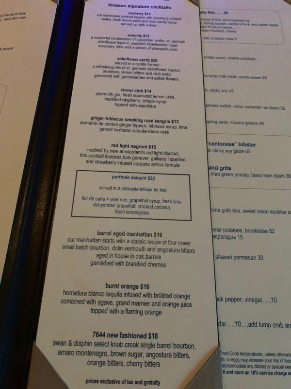 Cocktail List, Bluezoo
