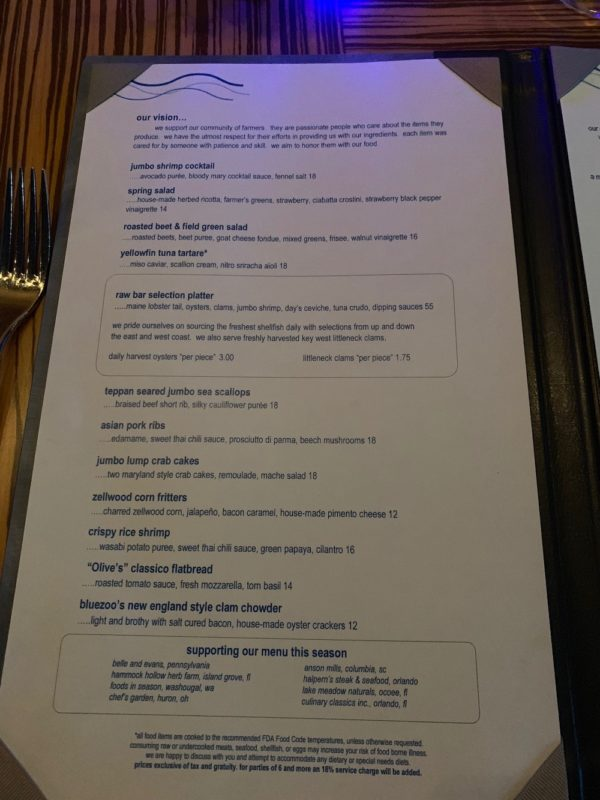 Appetizer Menu at Bluezoo