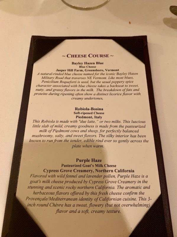 Cheese Course Menu
