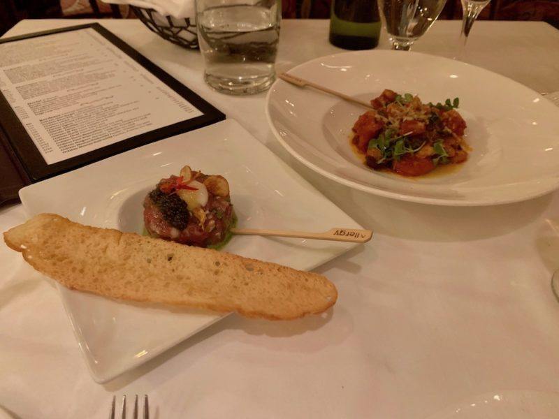 Tuna Tartare and Shrimp with Pasta and Puttanesca (Appetizers)