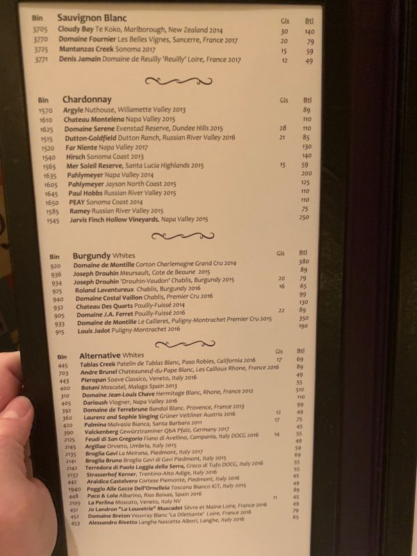 Citricos' Wine List