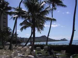 View of Diamond Head from Halekulani Hotel