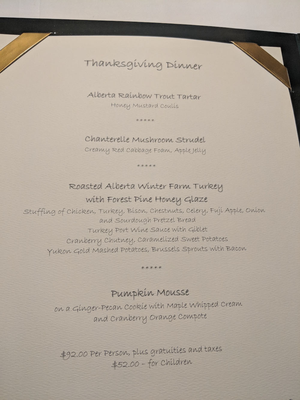 Thanksgiving Dinner Menu at the Post Hotel, Sunday October 7, 2018