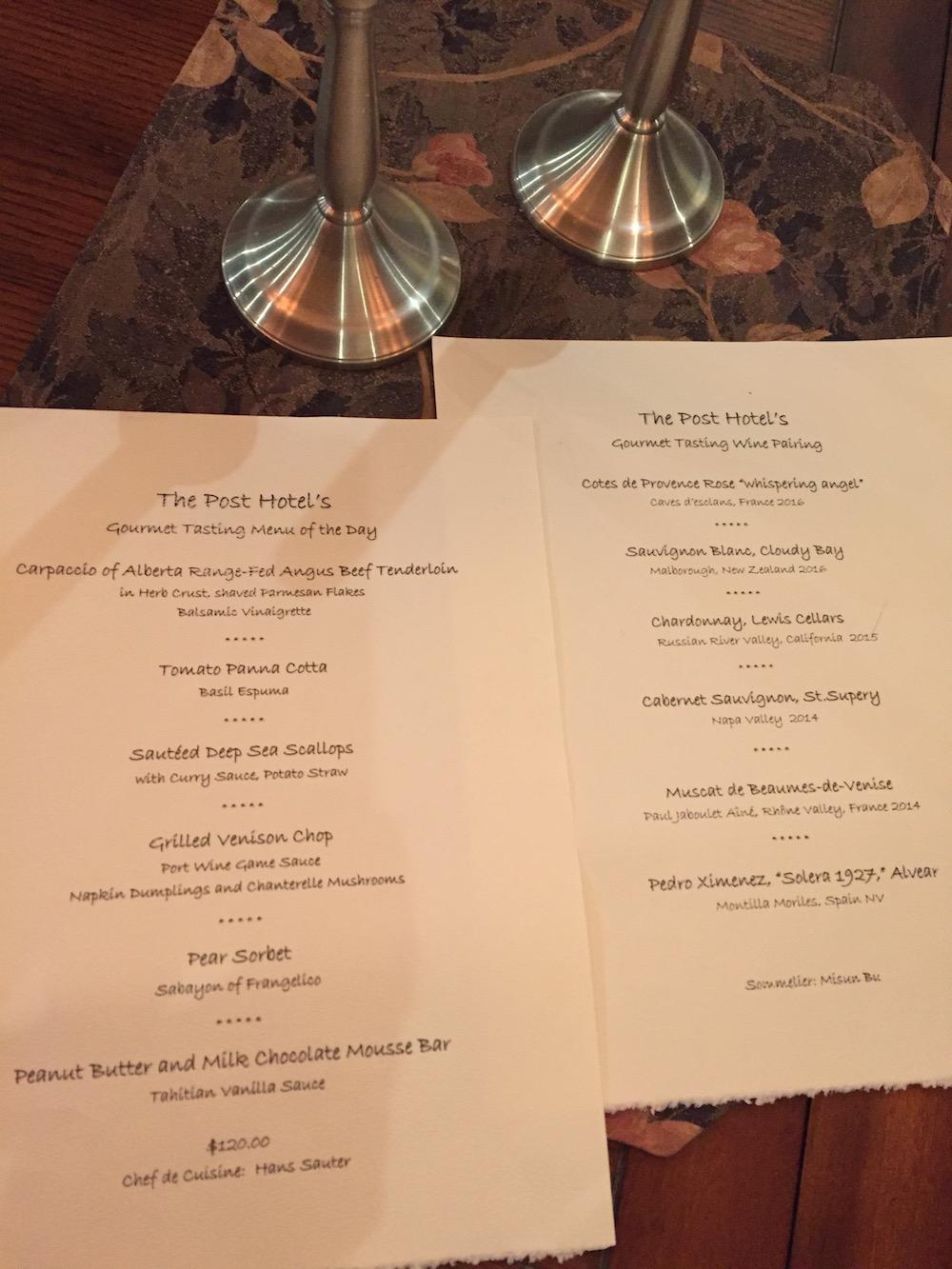 Tasting Menu and Wine Pairings, Post Hotel
