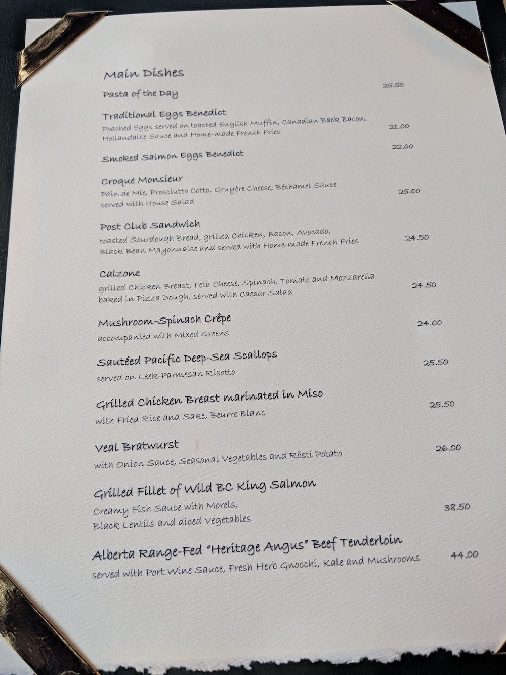 Lunch Menu at the Post Hotel