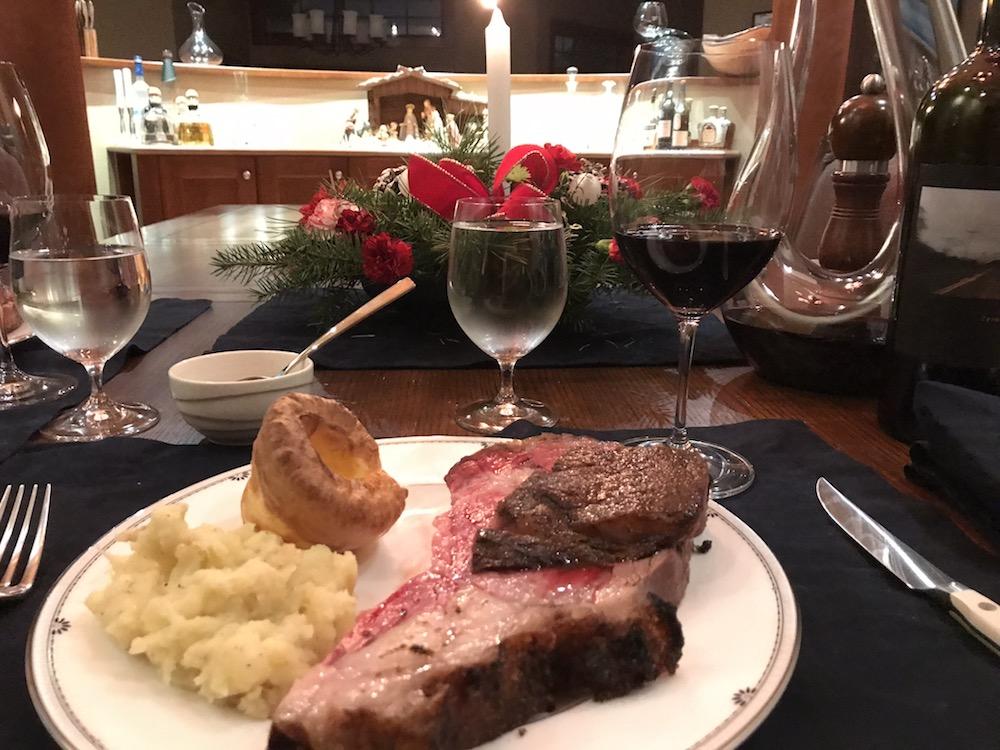 Christmas Dinner - Prime Rib with a bottle of Sine Qua Non