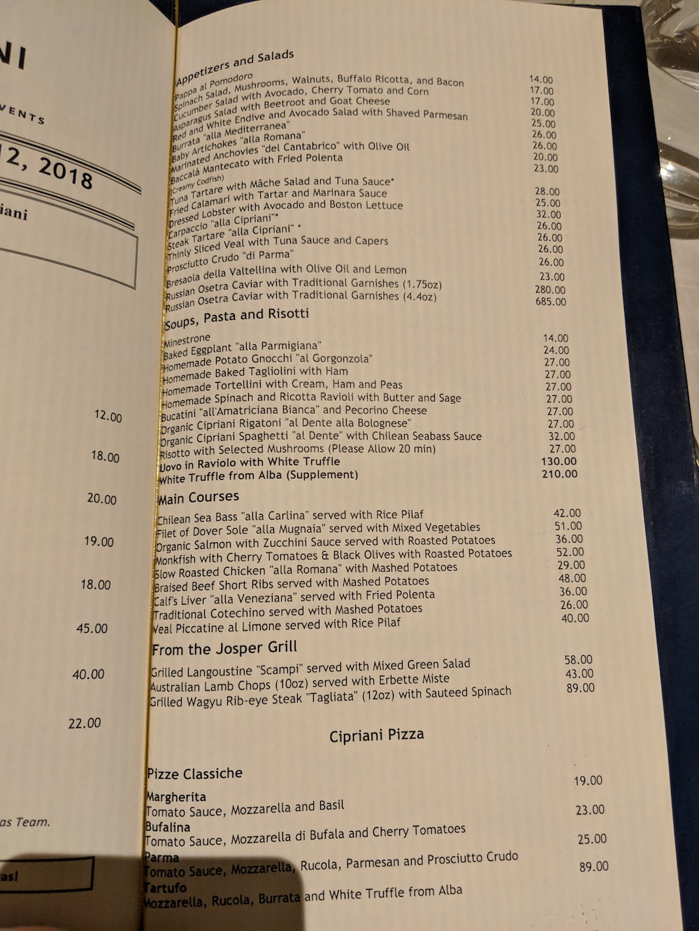 Cipriani Menu - Ask for Guidance