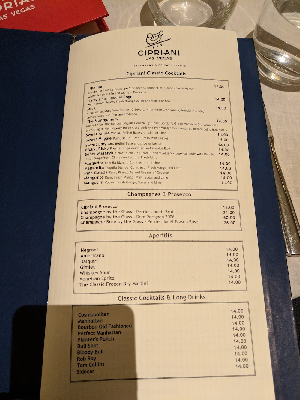 Cocktail Menu at Cipriani