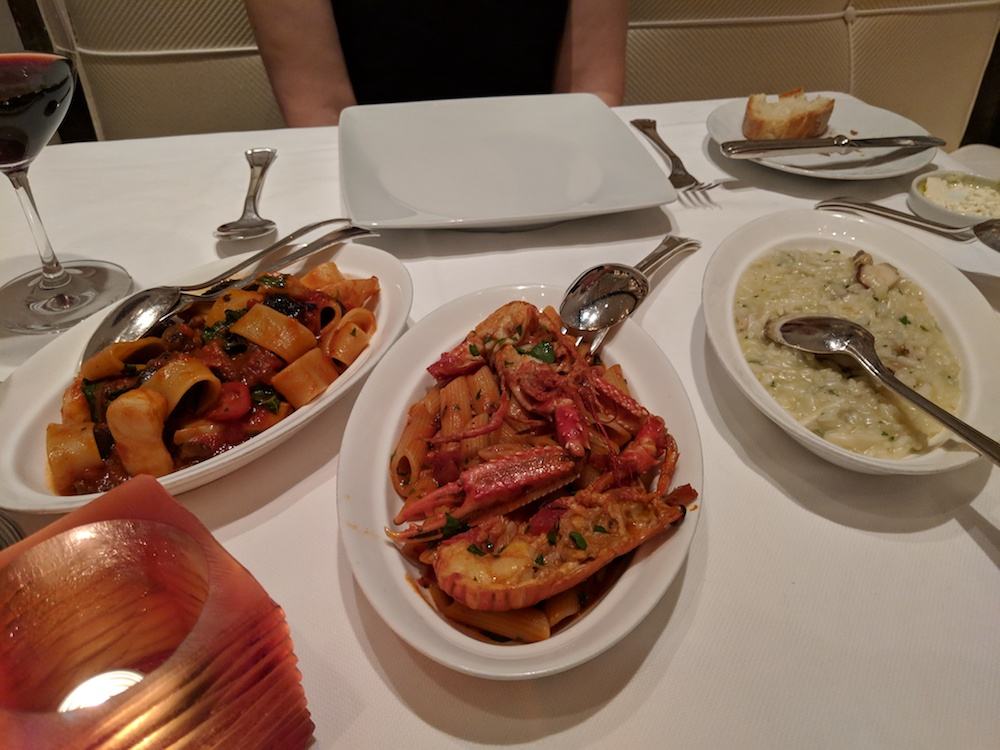 Primi - including: Calamarata pasta rings, scopion fish, and risotto with seafood