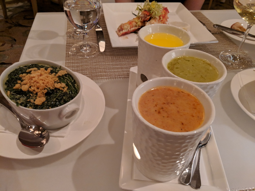 Black Truffle Creamed Spinach and a trio of dipping butters