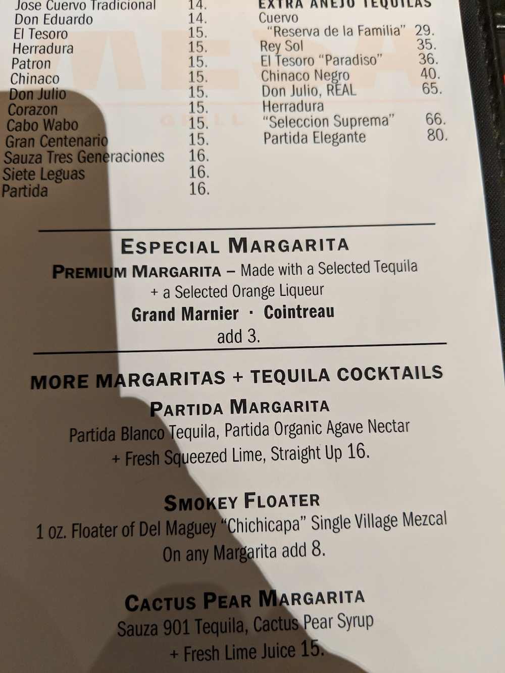 Margarita menu,
