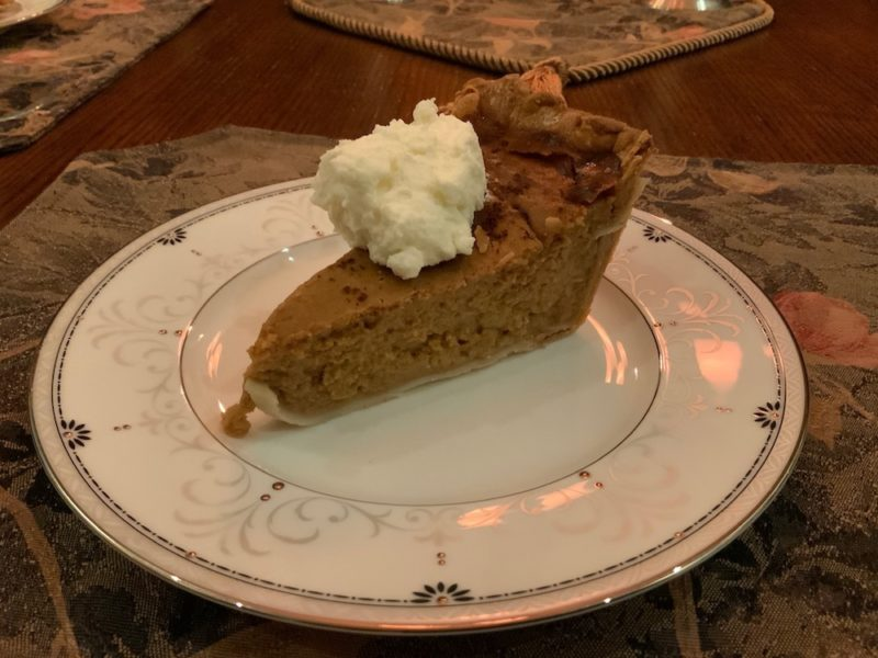 Perfect pumpkin pie made with local in-house roasted pumpkins