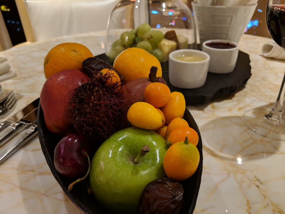 Fruit, wine and cheese to greet us